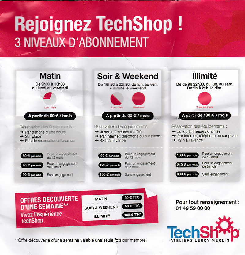 Tarifs Techshop