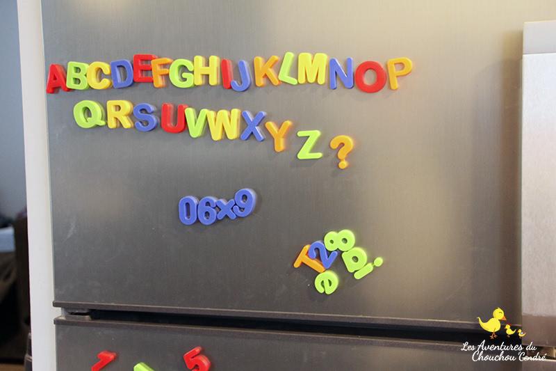lettres aimantées frigo