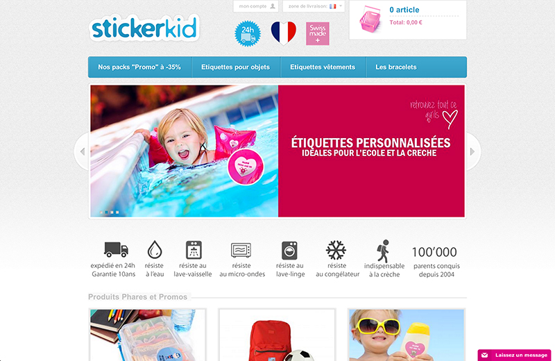 Screenshot site Stickerkid