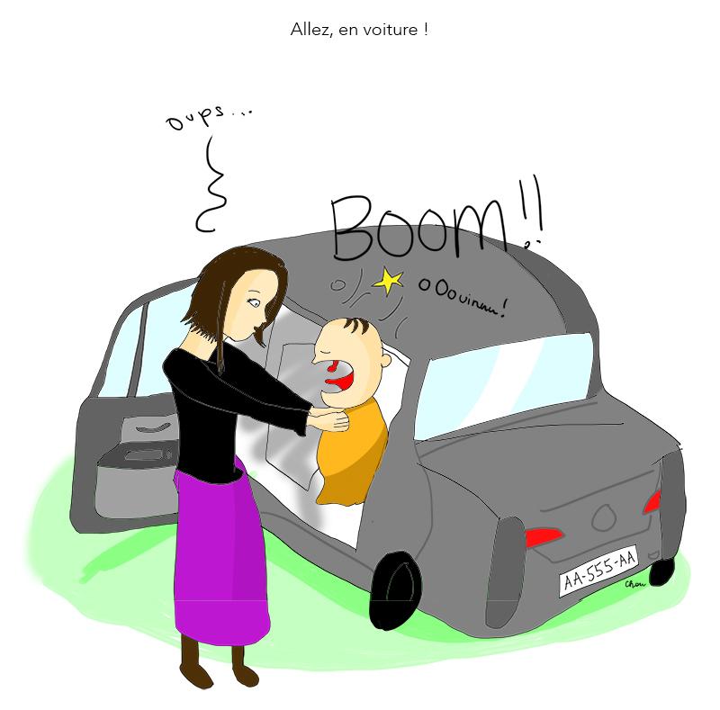 Tête bébé tape voiture