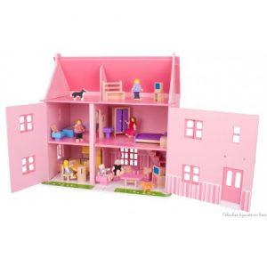 grande-maison-de-poupees-rose-en-bois