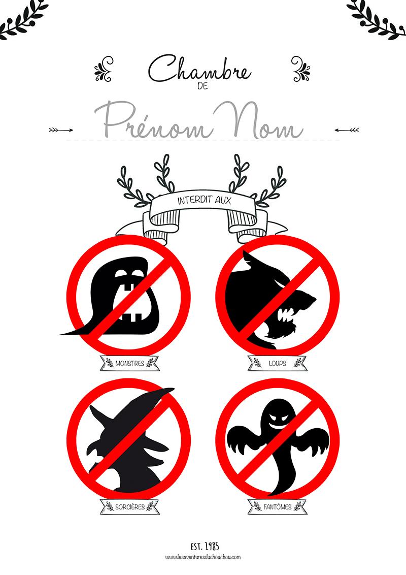 Affiche anti-monstres