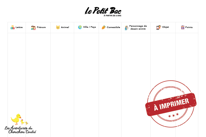 Printable Petit Bac