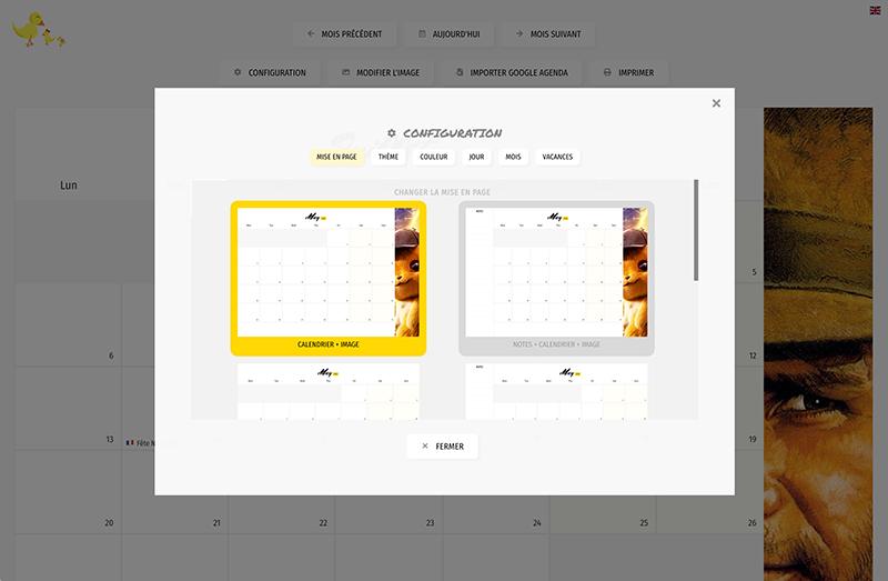 calendrier mise en page