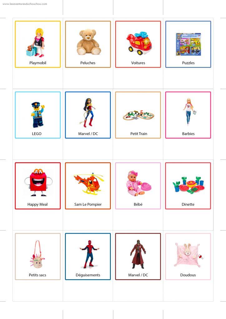 étiquettes de rangement jouets